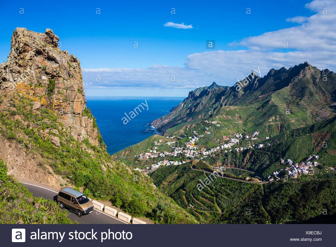 España, Europa, Islas Canarias, Taganana, la isla de Tenerife, Tenerife, Teneriffa, Taganana, montañas, ver, verde Imagen De Stock