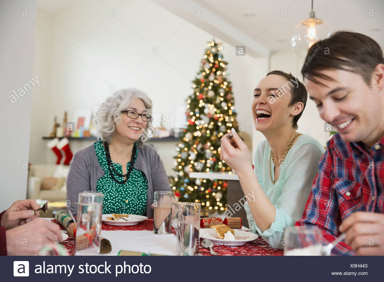 Familia disfrutando de comidas navideñas juntos Imagen De Stock