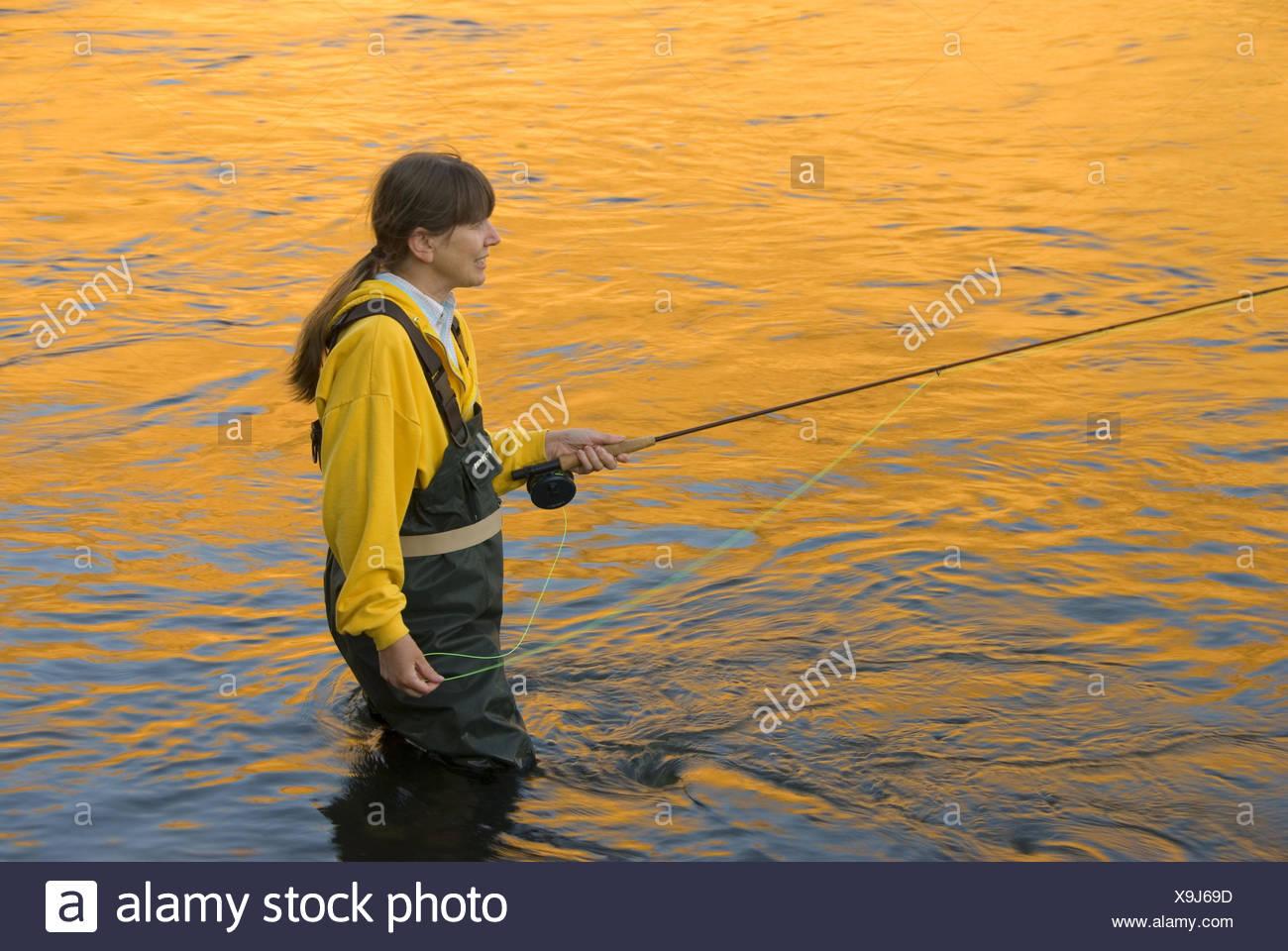 Flyfishing con resplandor, el río de Deschutes River State Park, el río de Deschutes silvestres y escénicos, Columbia River Gorge National Scenic Imagen De Stock