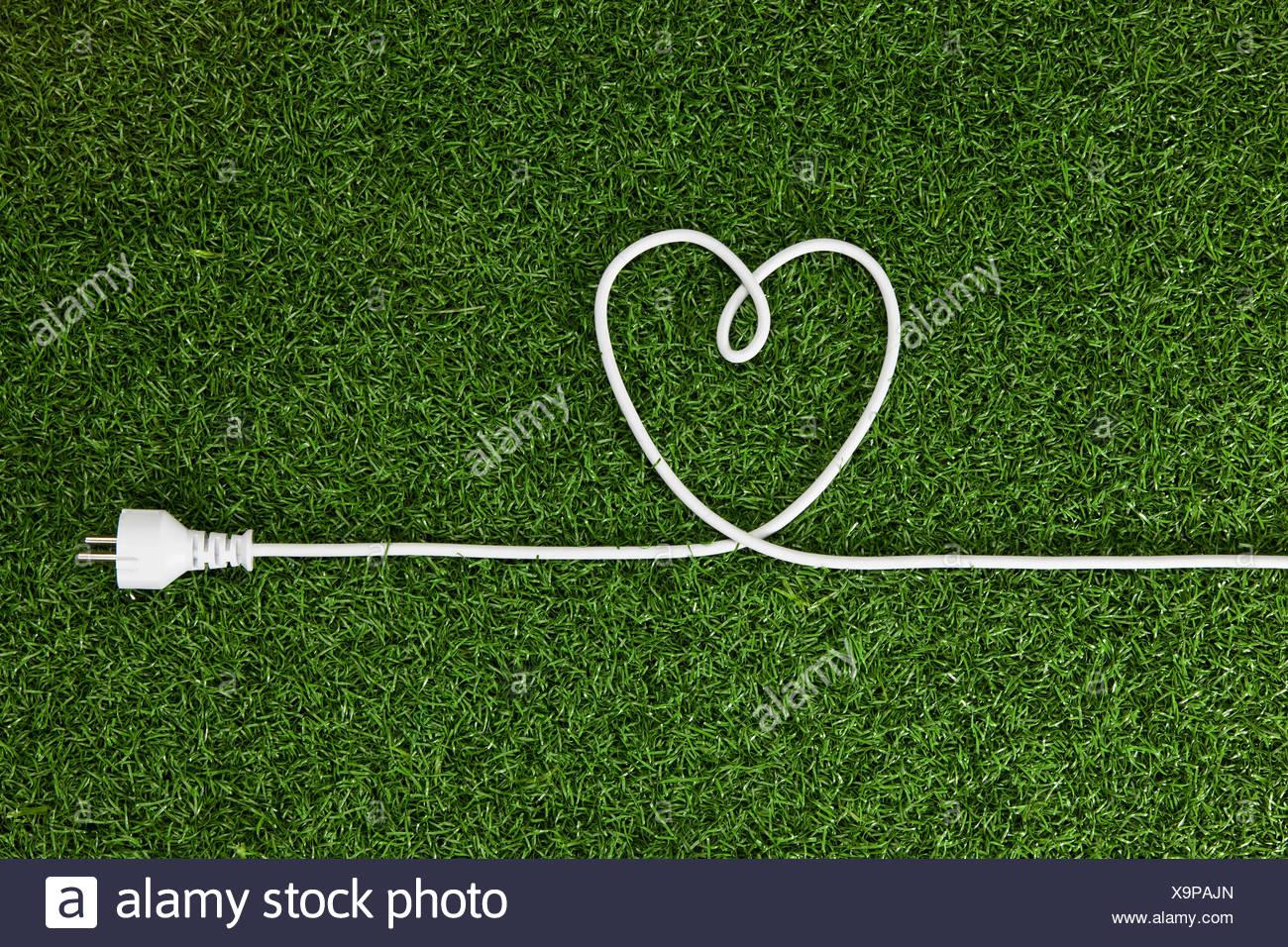 Un cable eléctrico dispuestos en forma de corazón sobre el césped Imagen De Stock