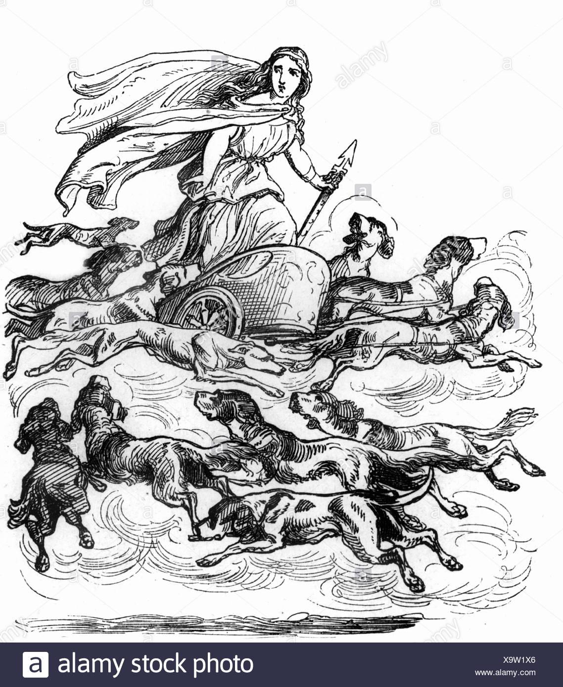 frigg diosa nórdica en el salvaje hunst grabado en madera después