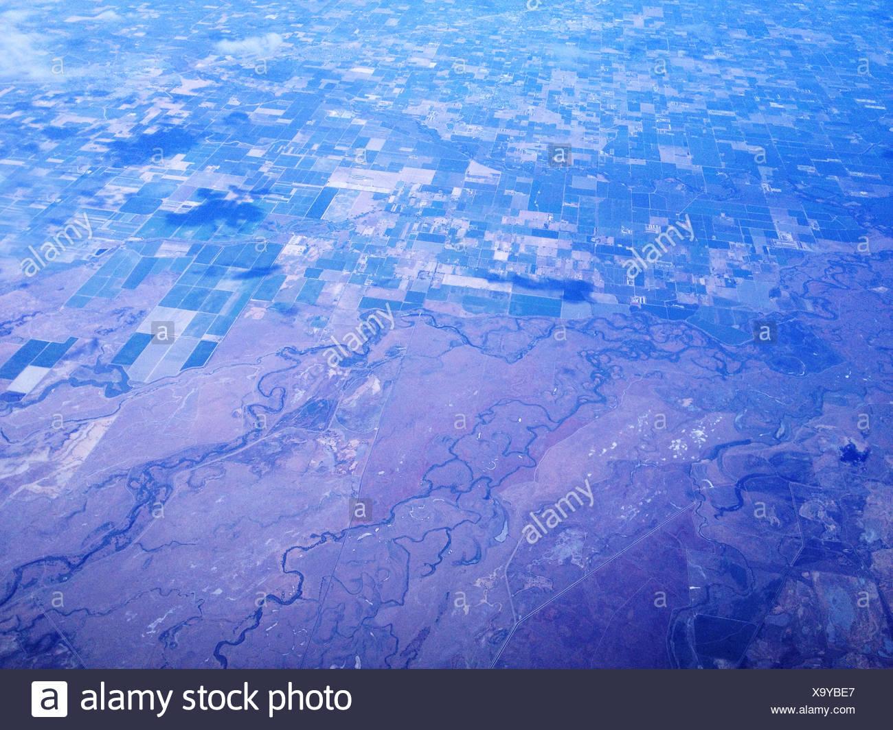 Nevada, Estados Unidos de América, la agricultura, los ríos y el desierto desde arriba Imagen De Stock