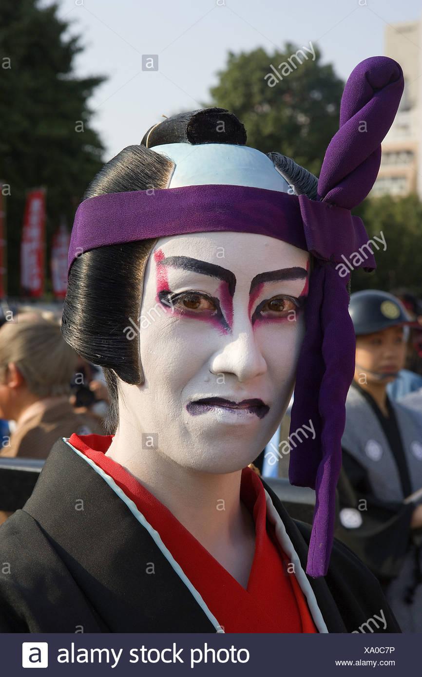 df8931225 Japón: Tokio hombre traje de cara pinturas peluca tradición cultura ...