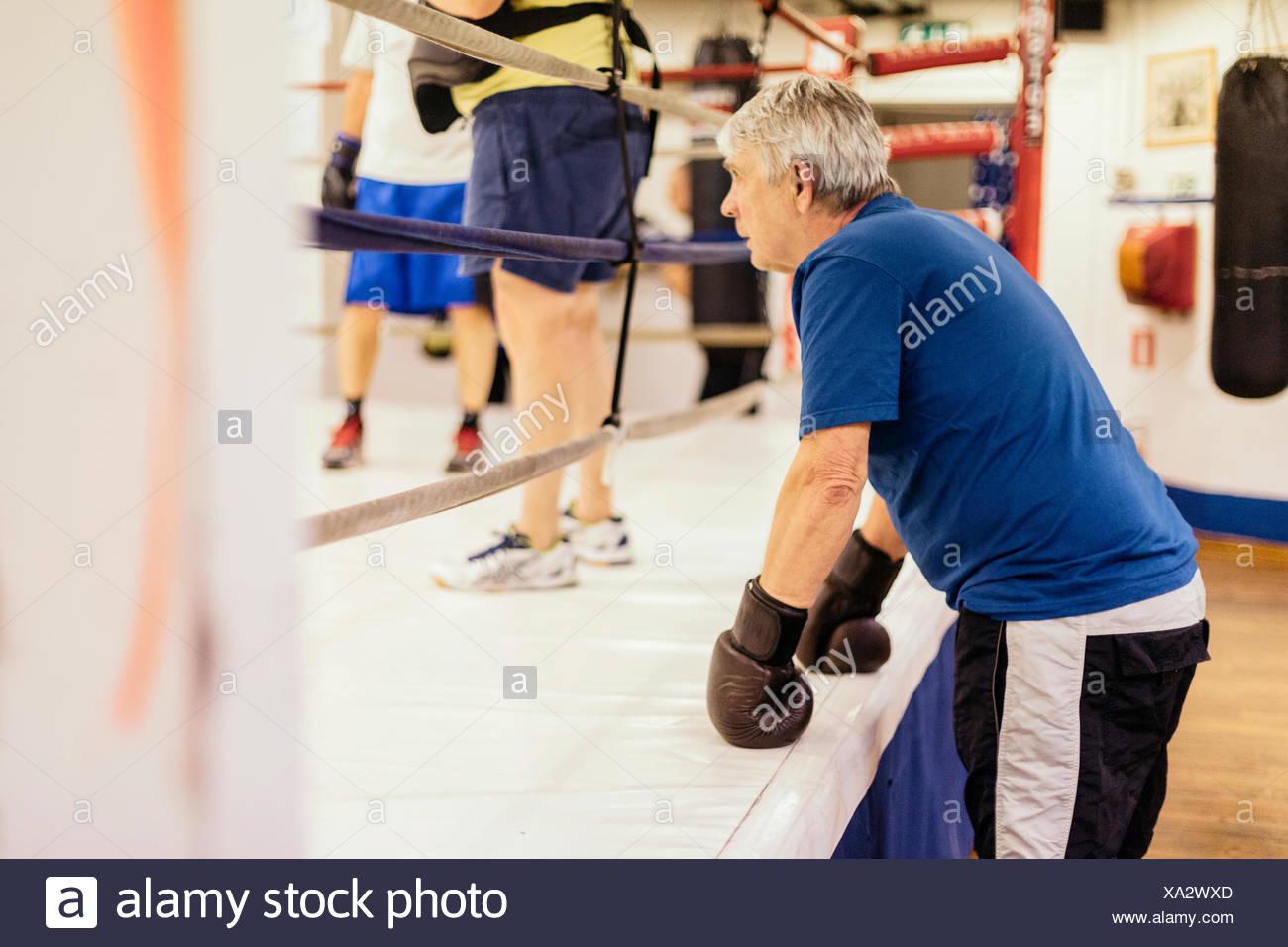 El hombre superior en formación de boxeo Imagen De Stock