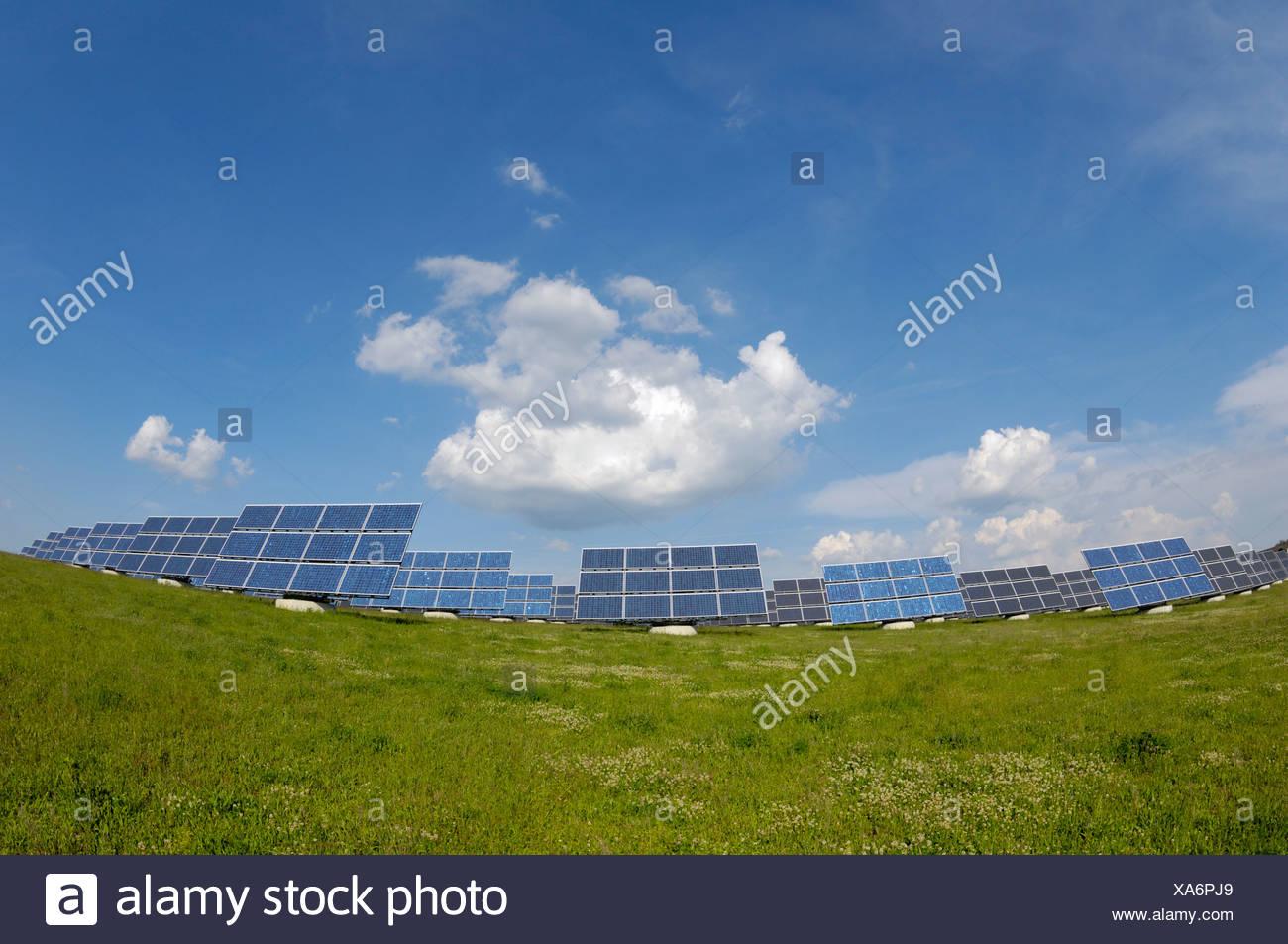 Panel solar más grande del mundo, cerca de campo Arnstein, Baviera Imagen De Stock
