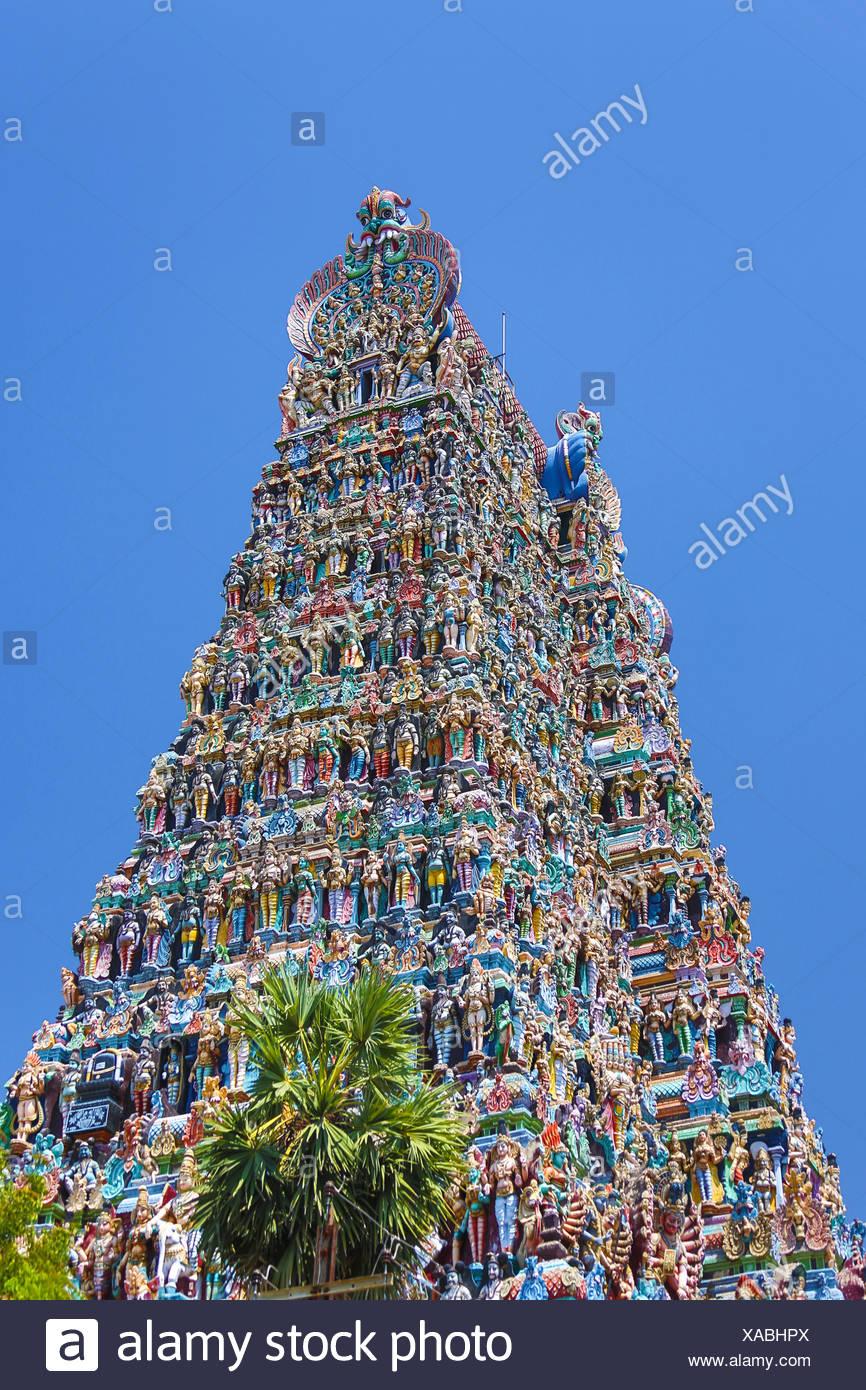 La India, Sur de la India, en Asia, en Tamil Nadu, Madurai, Sri Meenakshi, Templo Gopuram, arte, Grande, famoso, coloridos, templo dravídico Imagen De Stock