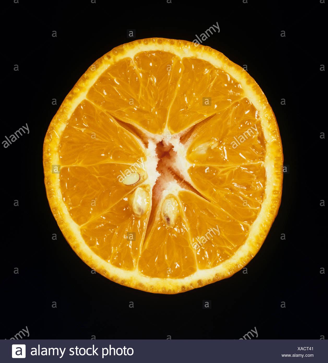 Cortar la sección de clementine variedad de fruta Página Imagen De Stock