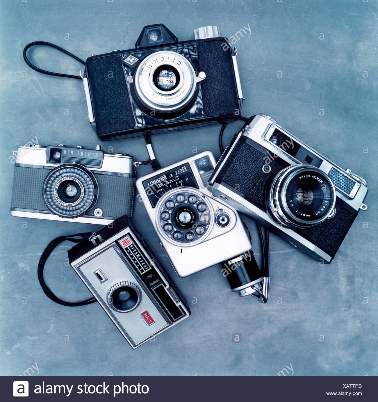 Colección de cámaras antigua Imagen De Stock