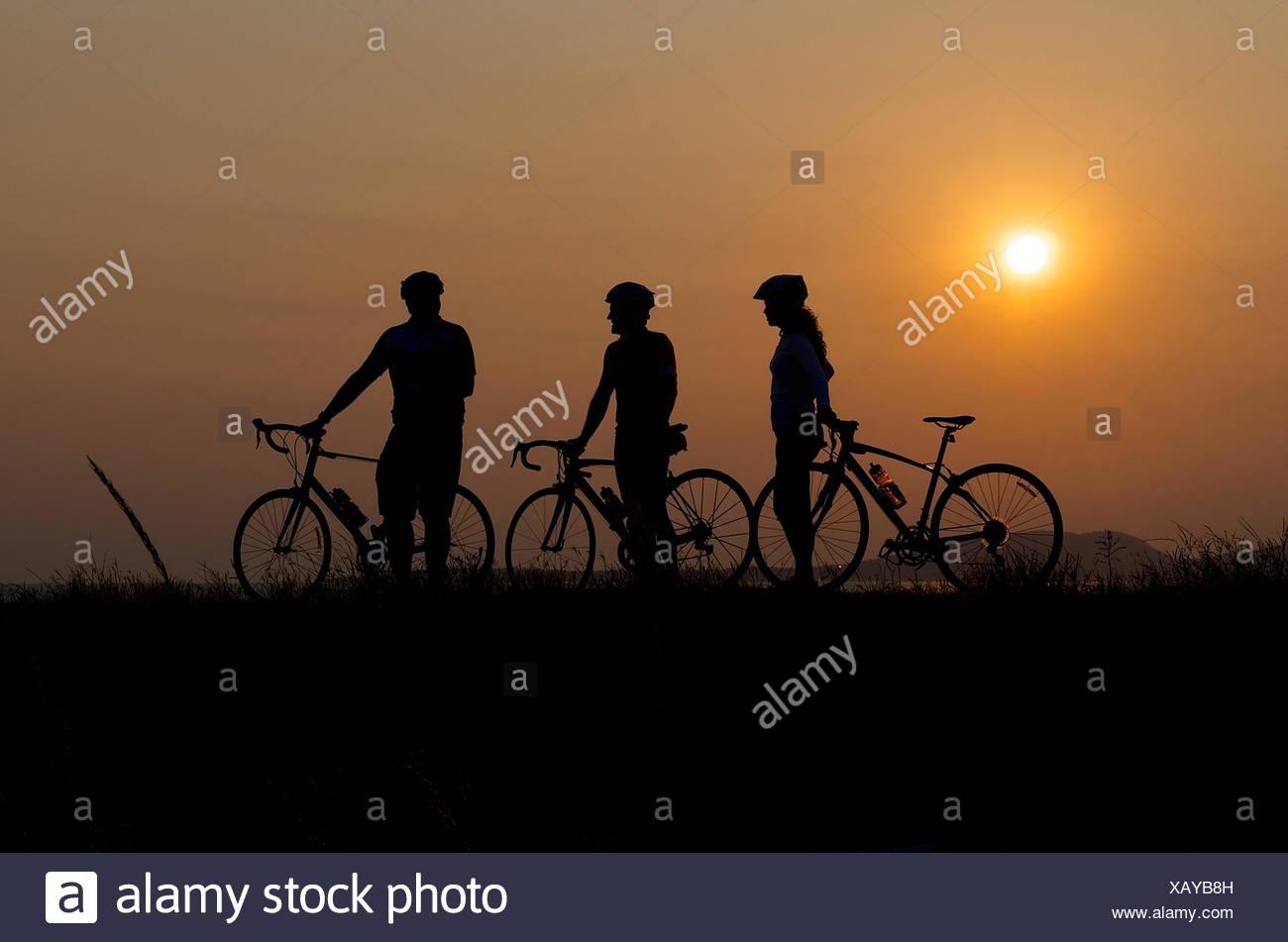 Silueta de tres ciclistas al atardecer Imagen De Stock