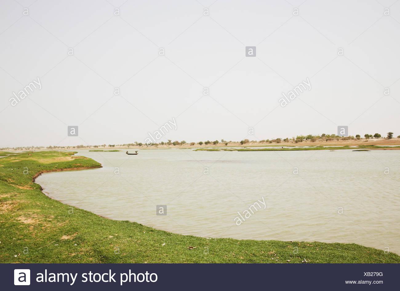 Vistas al río Níger cerca de Djenne, región de Mopti, Malí Foto de stock