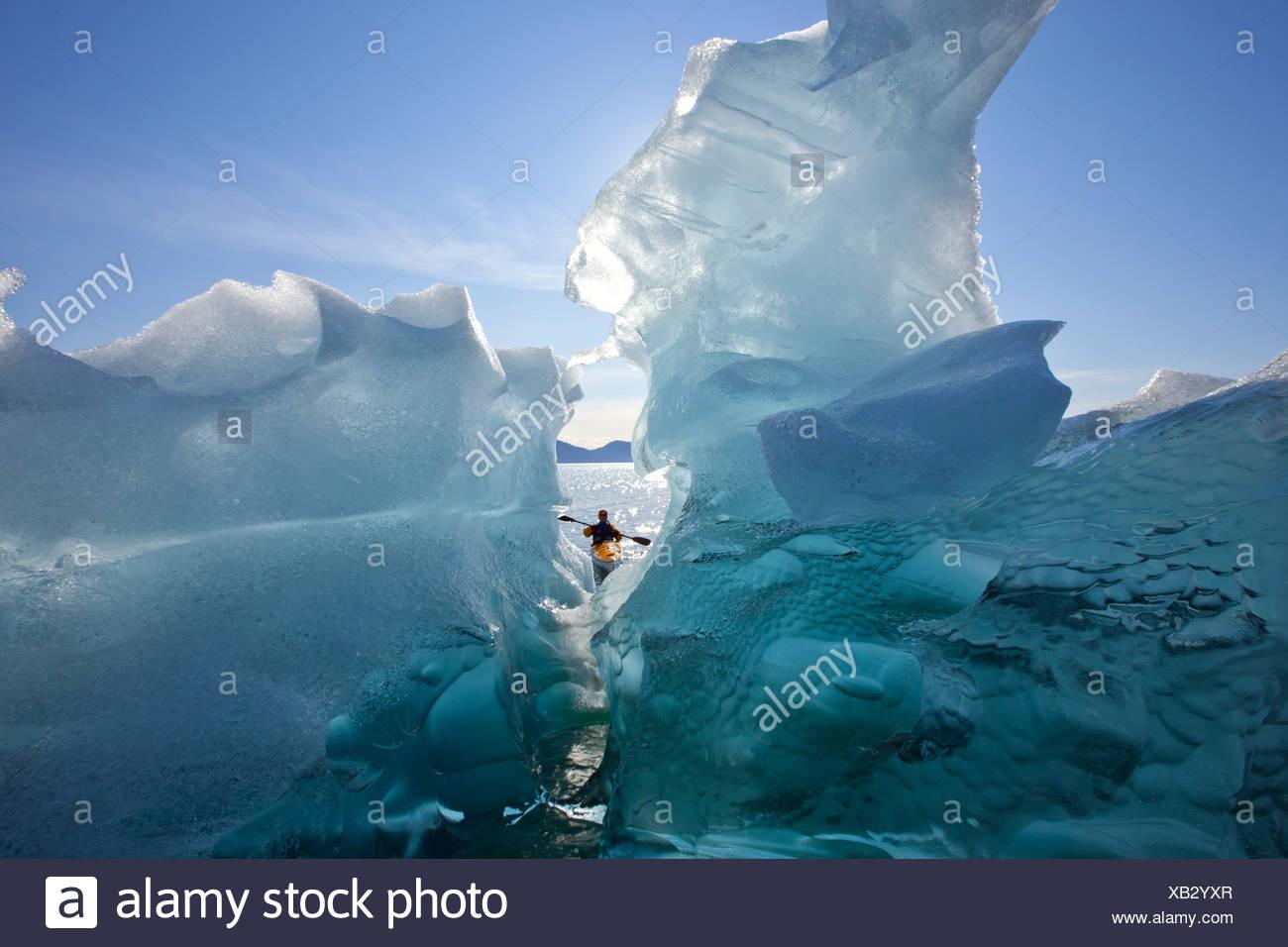 Mar Kayakista opiniones grandes icebergs en Stephens pasaje, Tracy Arm-Fords Terror Desierto, dentro del pasaje, Alaska Imagen De Stock
