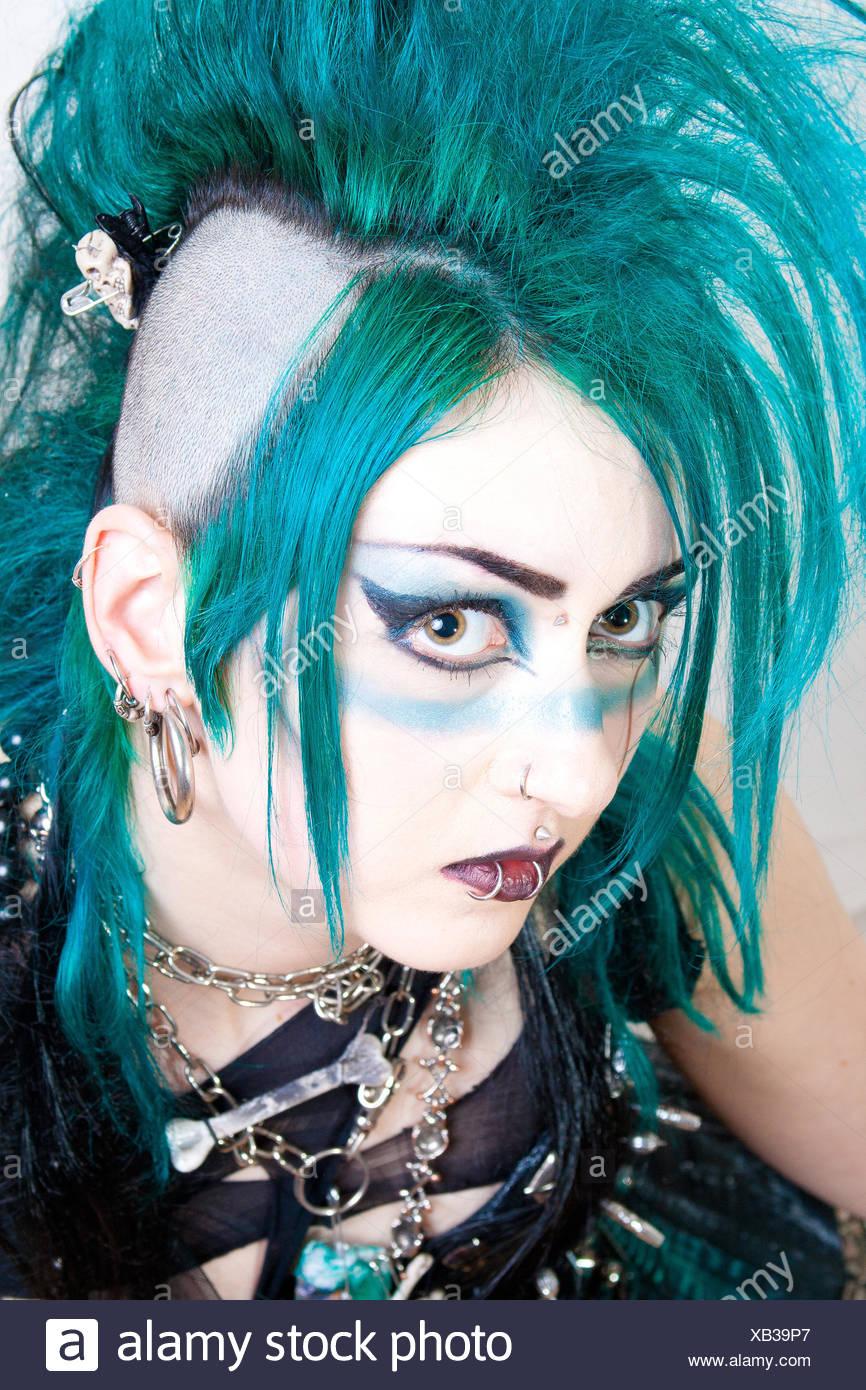 Retrato Punk Gótico Pelo Chica Chicas Verde Mujer
