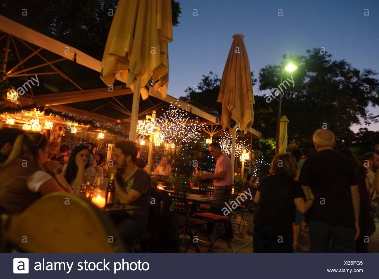 Restaurante Terraza Nocturna Atenas Grecia Foto Imagen