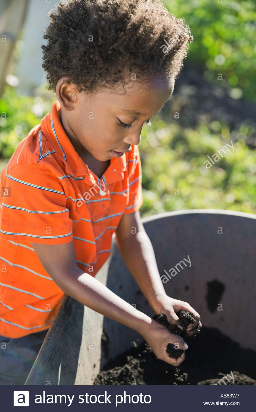 Niñito recoger suciedad en la carretilla de jardín Imagen De Stock