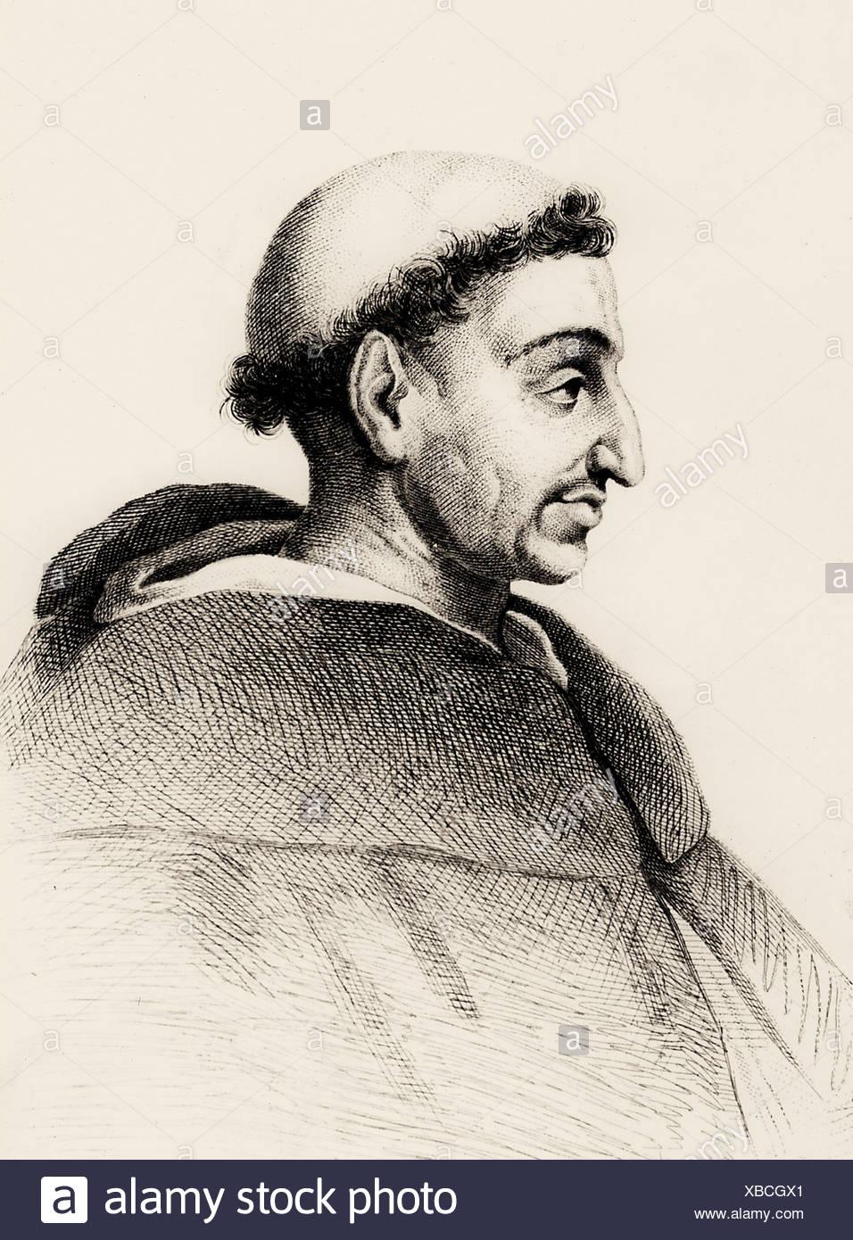 Girolamo Savonarola, 21.9.1452 - 23.5.1498, clérigo Italiano, retrato, después del grabado, siglo XVIII, tonsura, tonsura, reformada Foto de stock