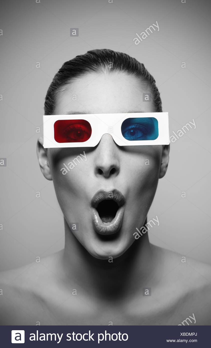 Retrato de mujer sorprendida Imagen De Stock