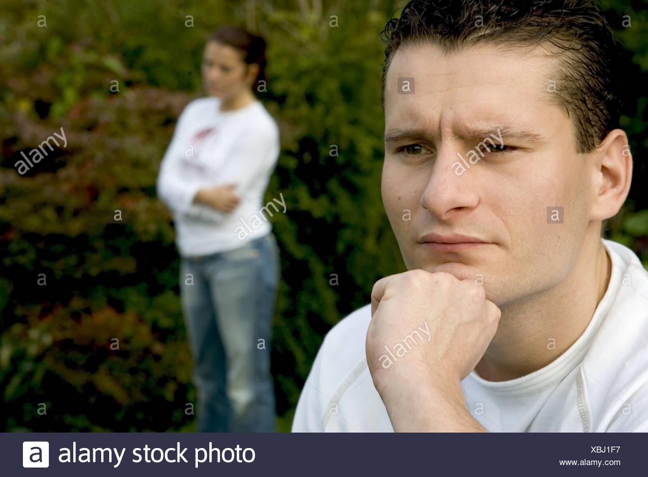 Matrimonio dificultades terco rostro femenino y masculino Imagen De Stock