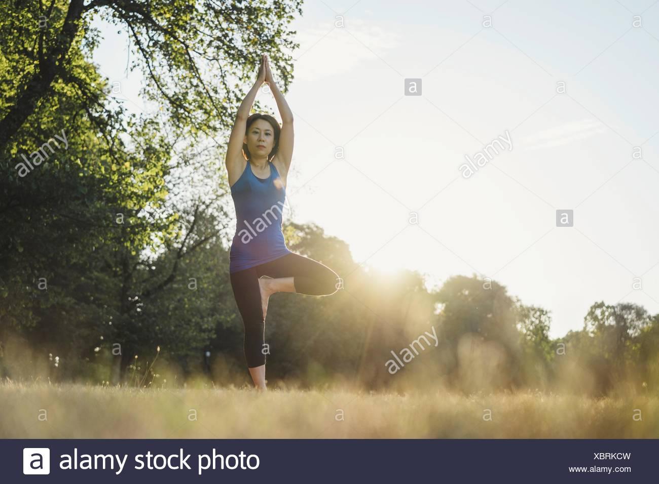 Mujer madura en parque, manteniendo el equilibrio sobre una pierna en posición de yoga, bajo ángulo de visión Imagen De Stock