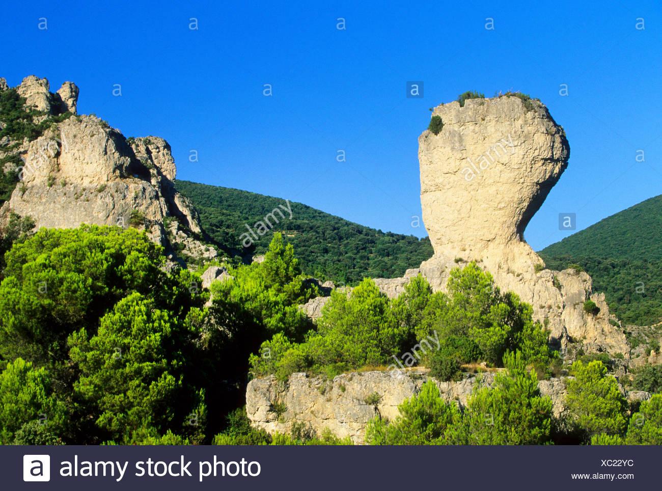Extraña formación rocosa de Mourez Herault, Francia Foto de stock