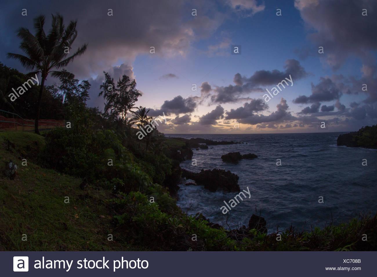Maui,Wai'anapanapa,State Park,costa,ESTADOS UNIDOS,Hawaii,Latina,Tarde, Imagen De Stock