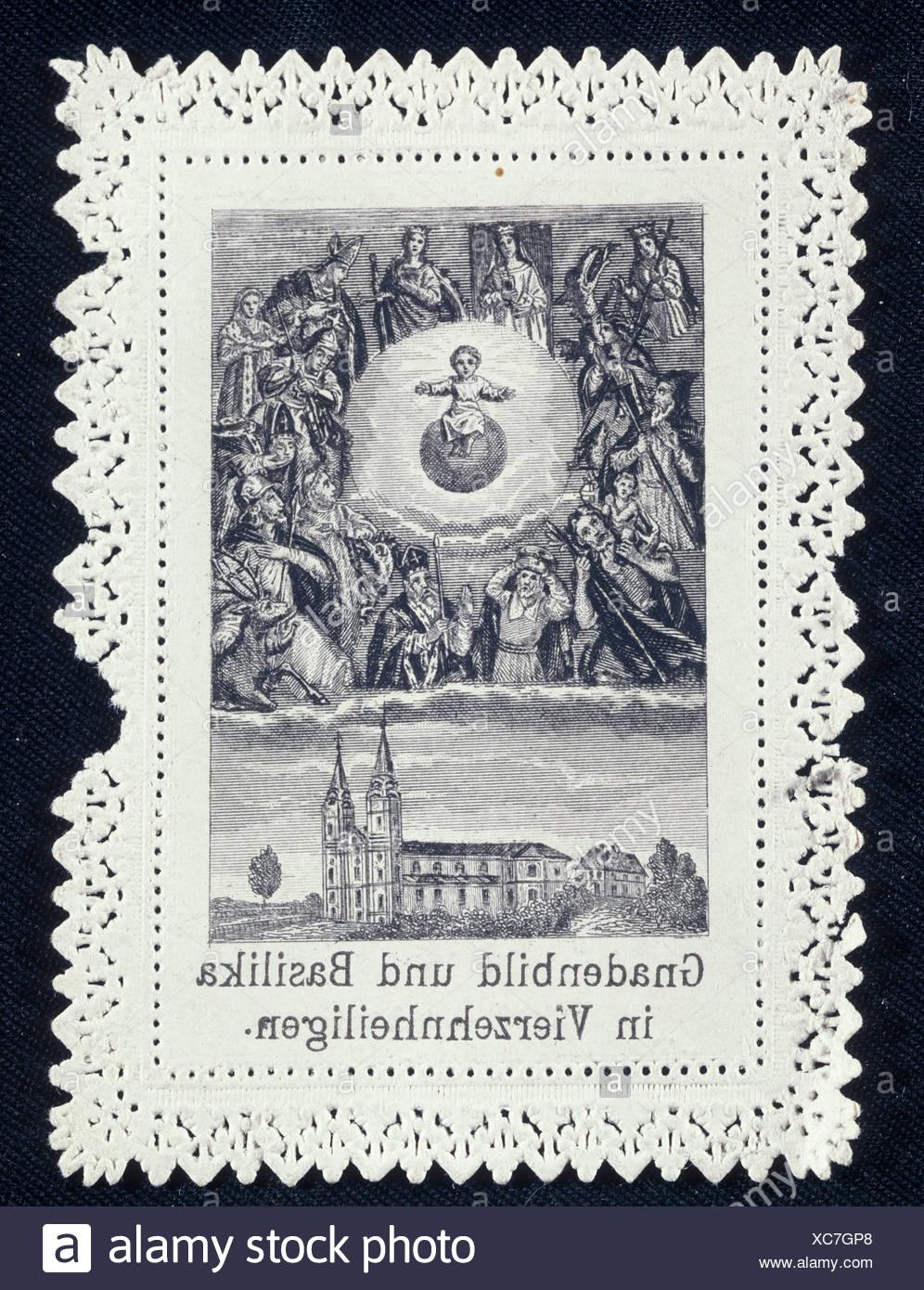 Imagen devocional de catorce Ayudantes Santo, alrededor de 1900, Alta Franconia, Baviera, Alemania, Europa Imagen De Stock