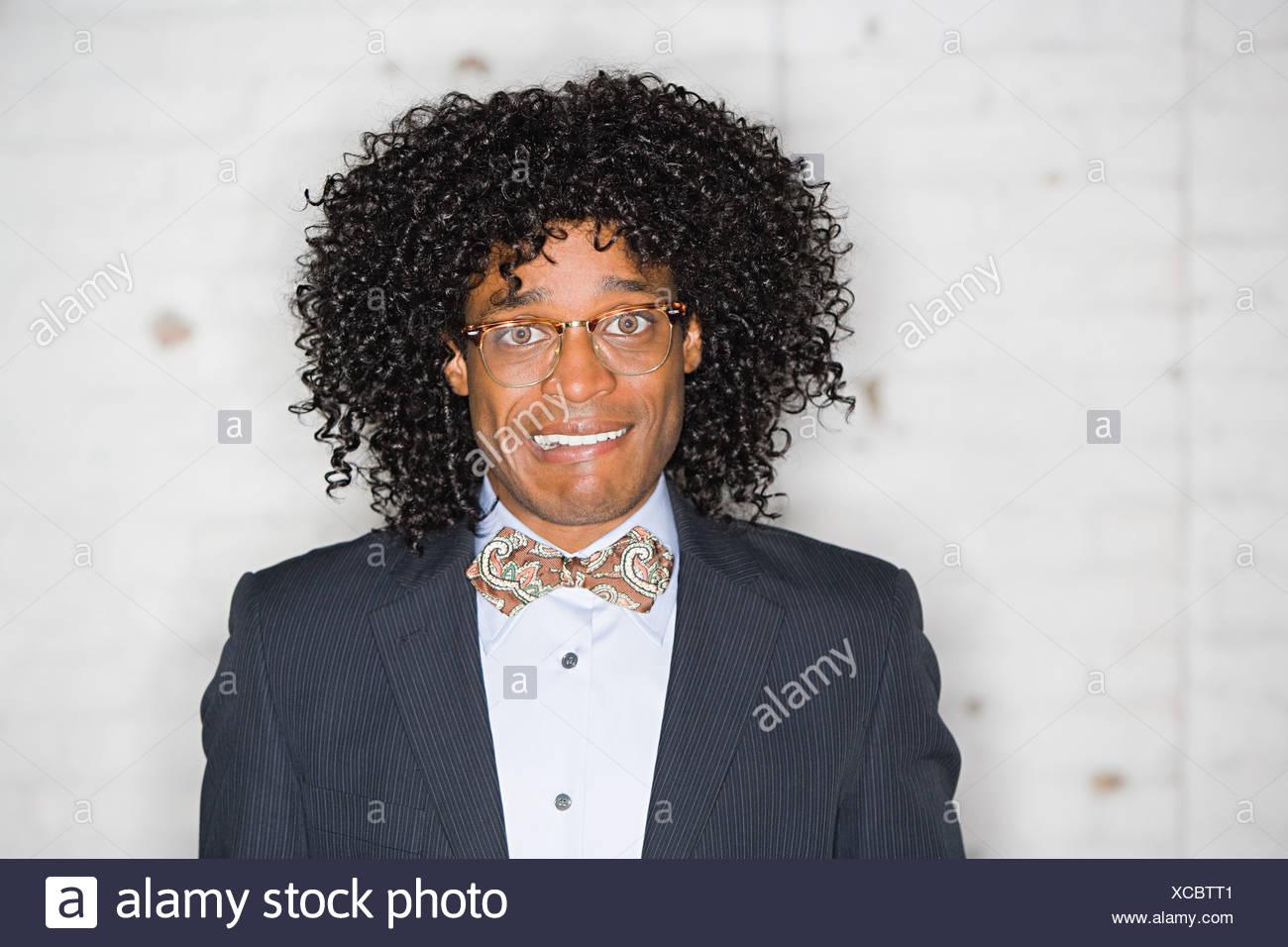 Retrato de un geek haciendo caras Imagen De Stock
