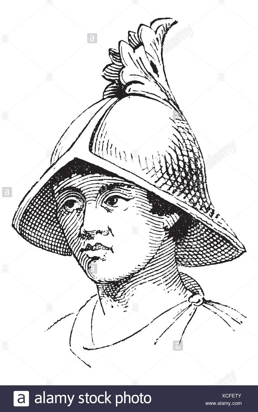 b78d82812815b Casco de Carlovingian galea vintage grabado grabado antiguo ilustración del  casco carolingia Imagen De Stock