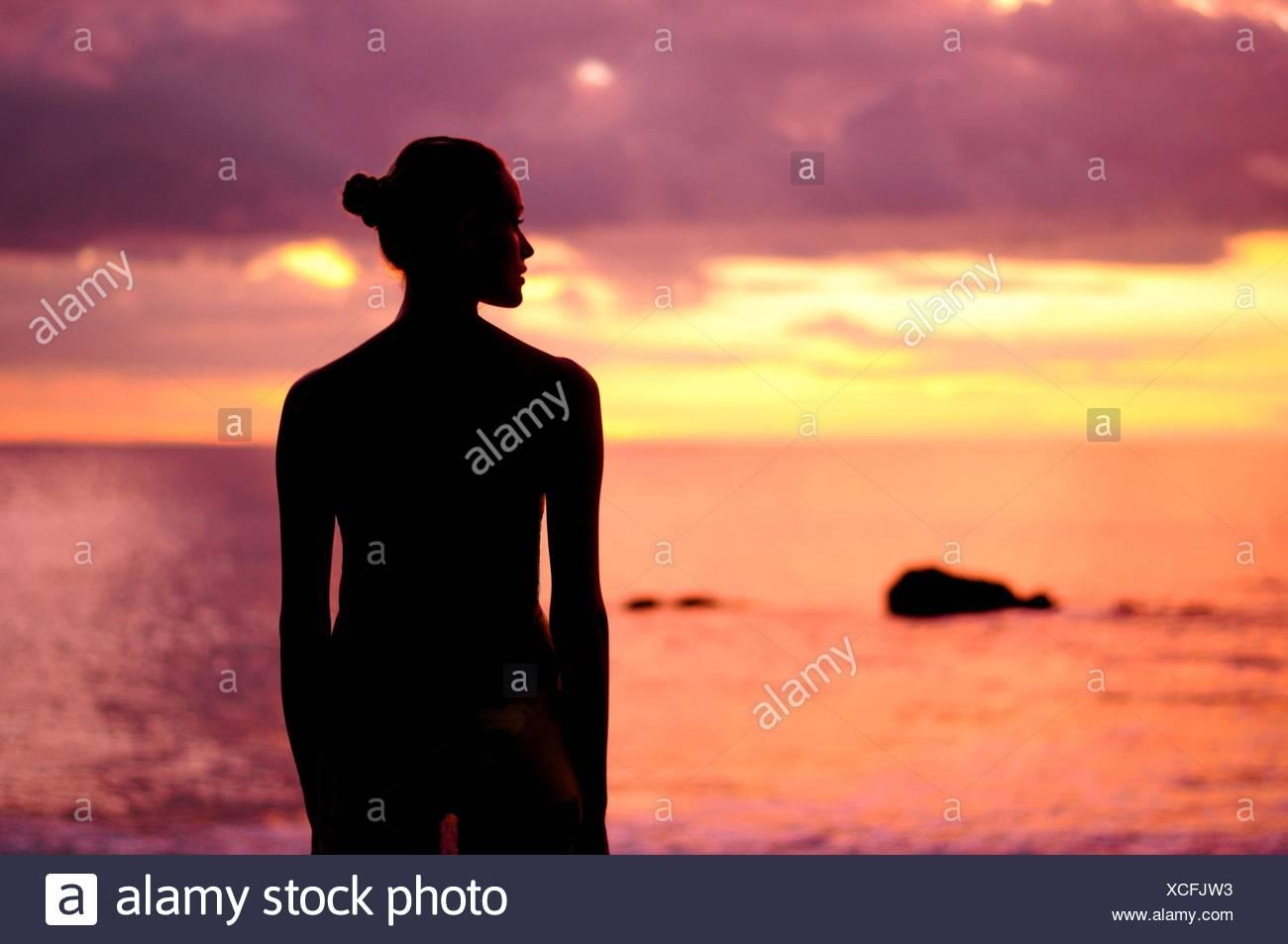 Silueta de una mujer de pie en la playa Imagen De Stock