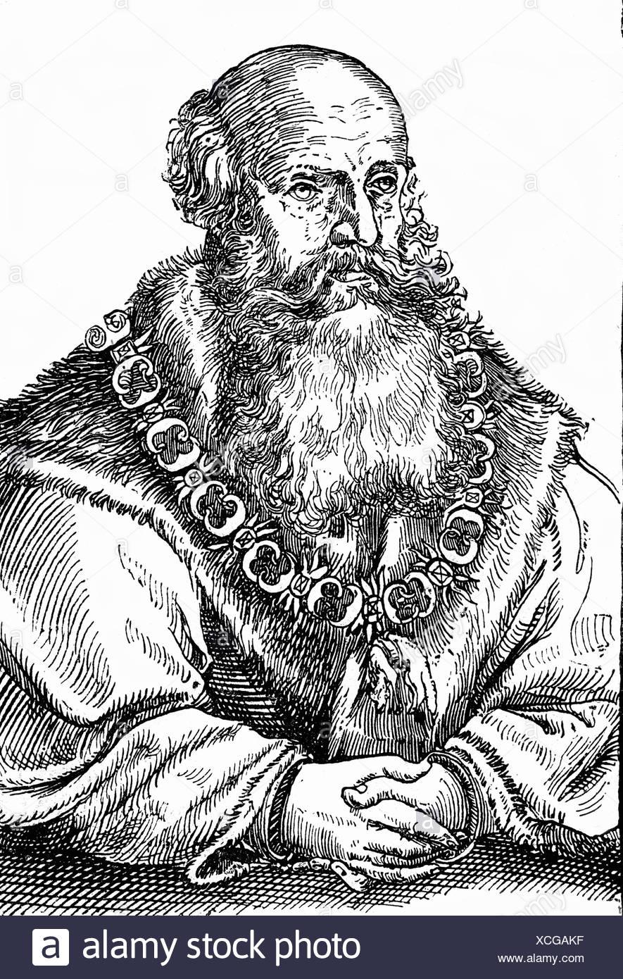 George 'The Bearded', 27.8.1471 - 17.4.1539, Duque de Sajonia 1500 - 1539, longitud media, madera contemporánea, siglo 16, Foto de stock
