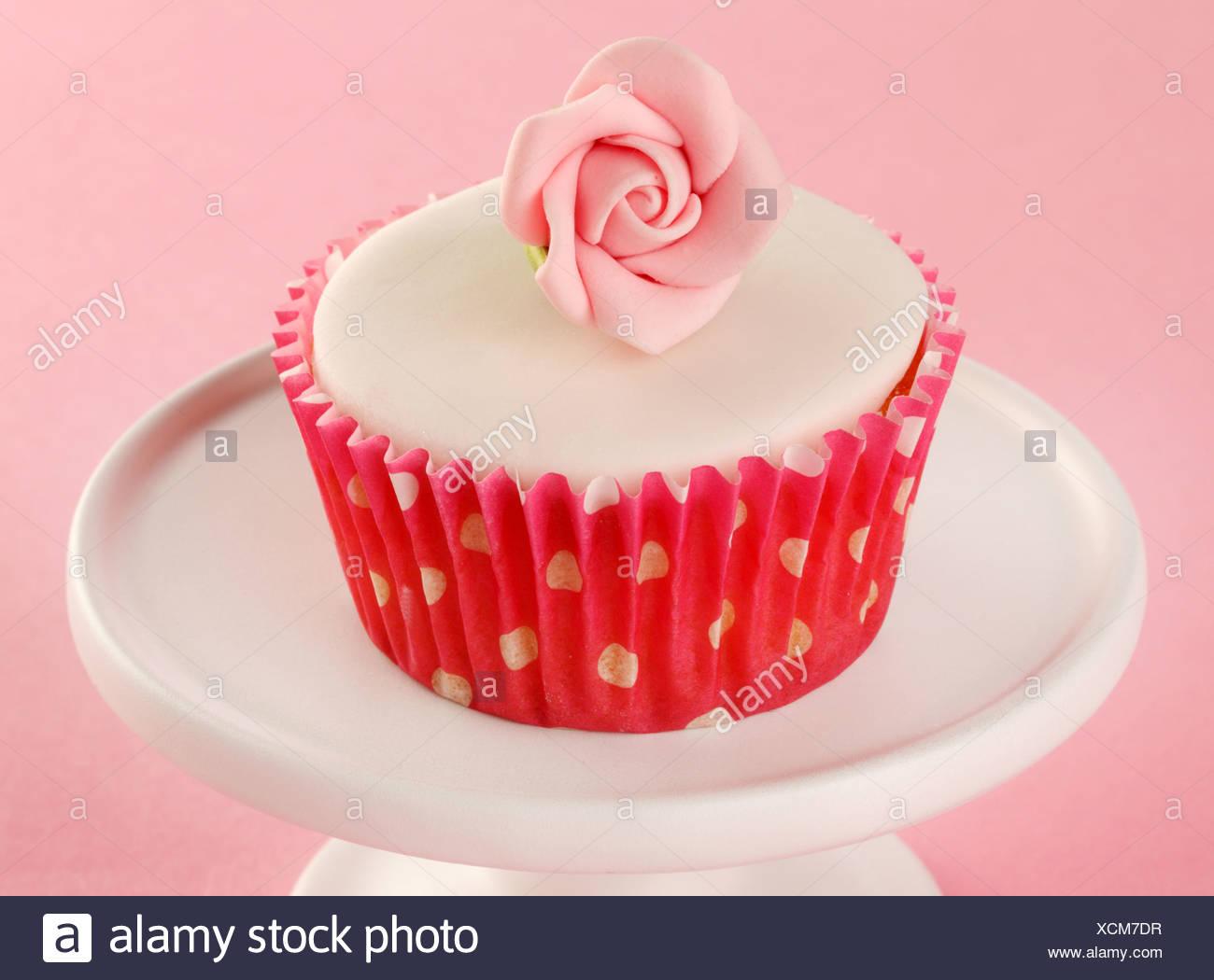 Rosa Rosa CUPCAKE Imagen De Stock