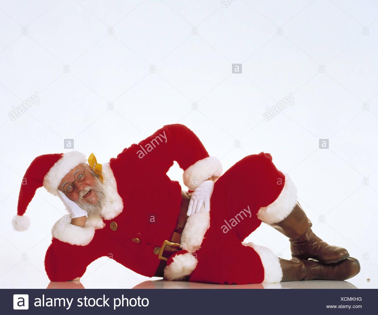 Santa Claus, la mentira, la cabeza, X-mas, Navidad, Santa, la recreación, el descanso descanso, tómalo con calma, inside, studio, recortar X MAS carpeta, Imagen De Stock