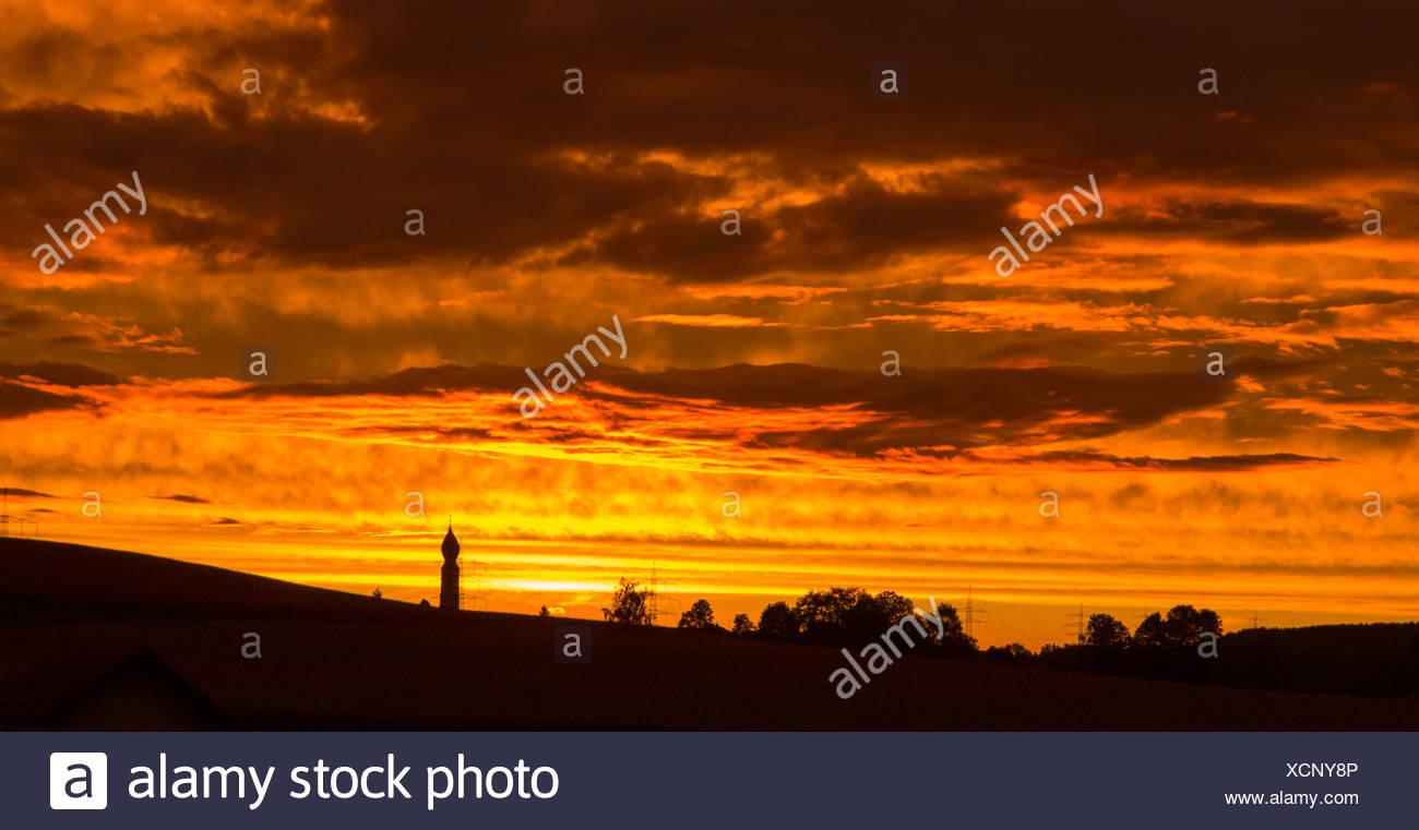 Noche resplandor, Alemania, Baviera Imagen De Stock