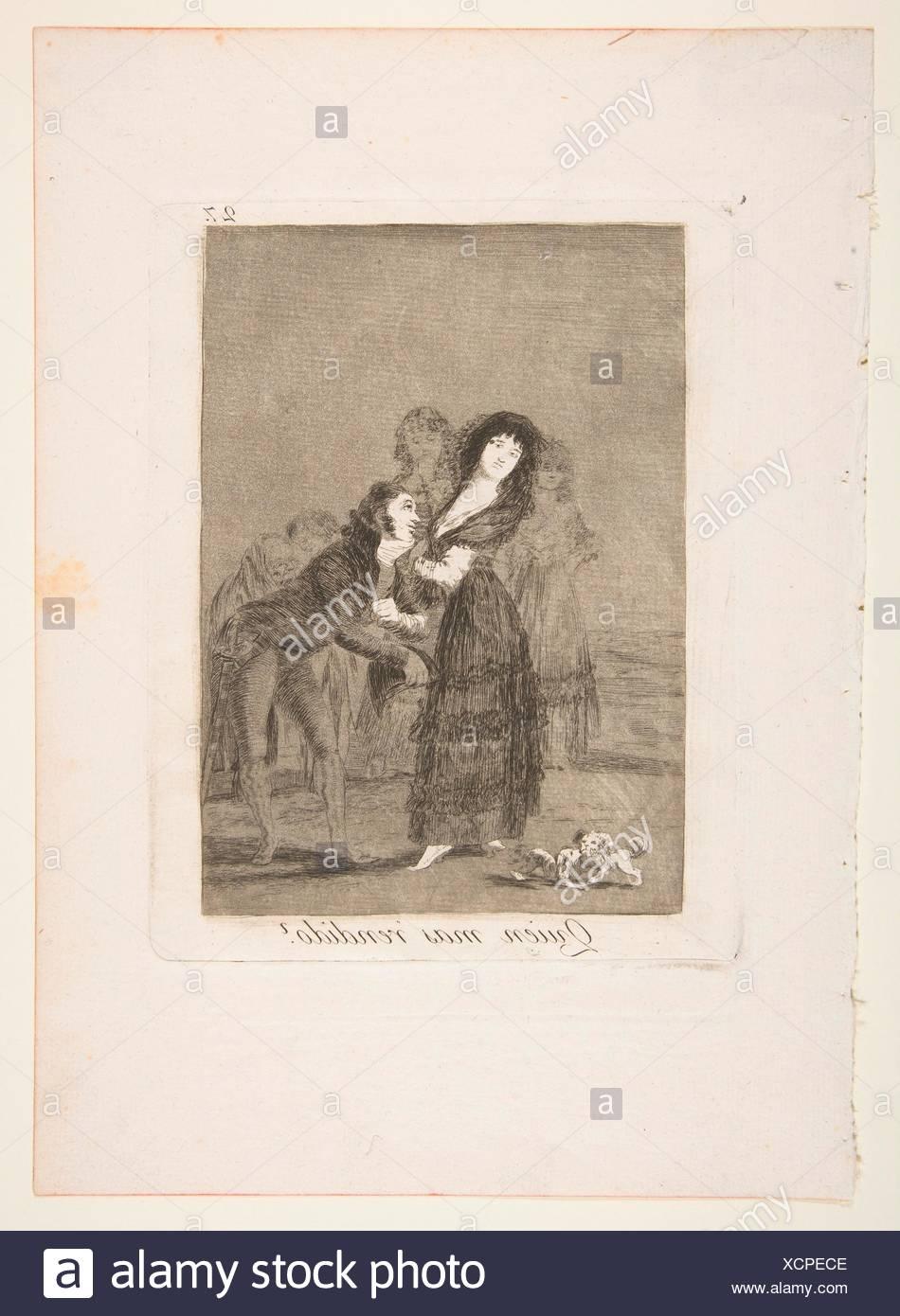 27 Chapa de 'Los Caprichos':cual de ellas es la más superar? (Quien mas rendido?). Series/cartera: Los Caprichos; Artista: Francisco de Goya ( Imagen De Stock
