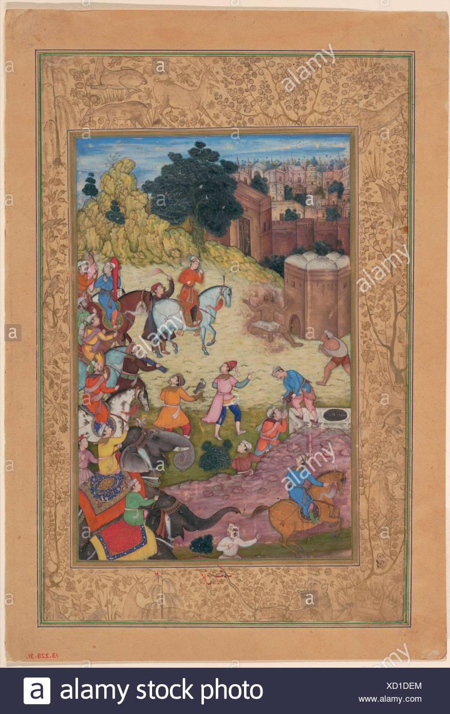 Un baño Keeper es consumida por la pasión por su amada, Folio de Khamsa (quinteto) de Amir Khusrau Dihlavi. Poeta: Amir Khusrau Dihlavi Imagen De Stock