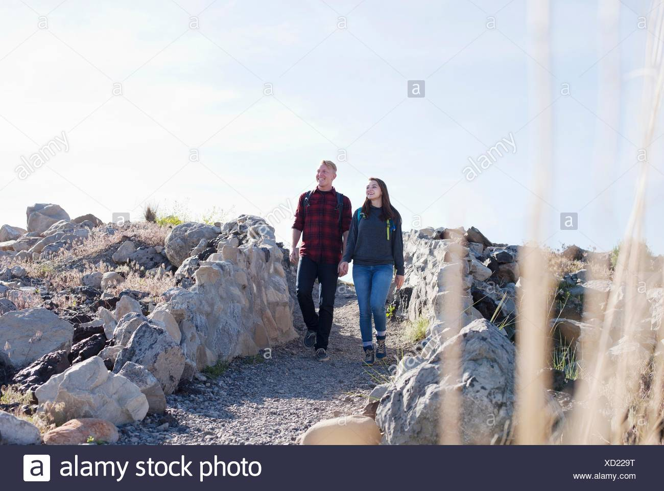 Vista frontal de la longitud completa de la joven pareja tomados de la mano caminando, mirando lejos Imagen De Stock