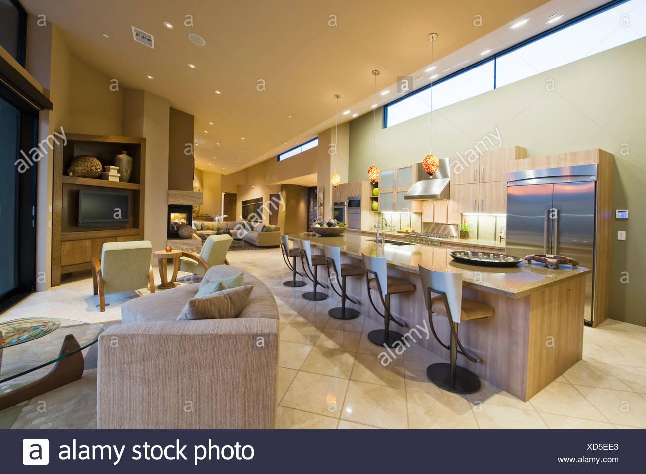Excepcional Mesa De La Cocina Moderna Establece Con El Banco ...