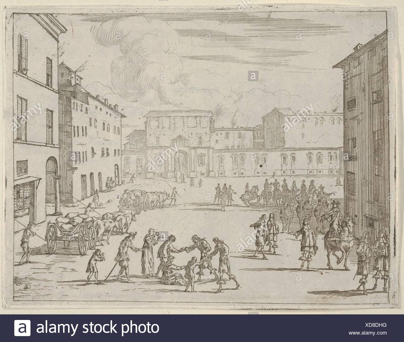 Francesco I d'Este asiste a sus súbditos con gran generosidad durante la gran hambruna de 1648 y 1649, L'Idea di un Principe ed Eroe Cristiano Imagen De Stock