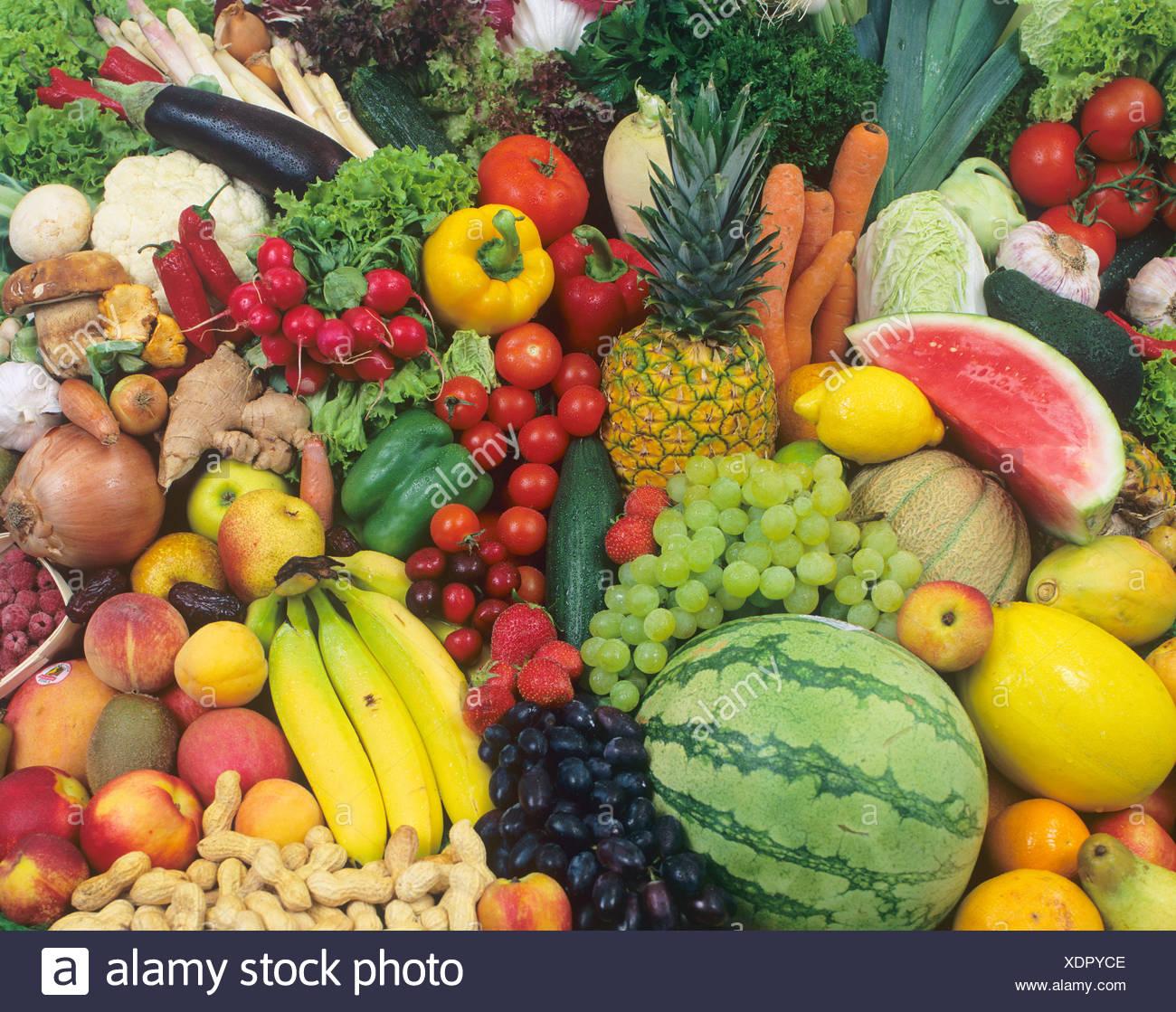Frutas y verduras, mezcla de colores Imagen De Stock