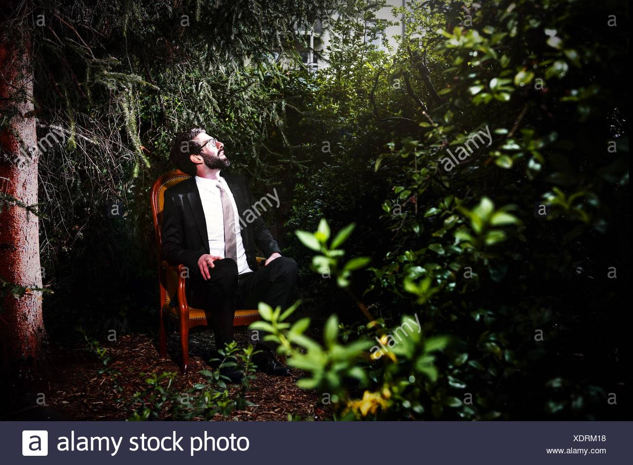 Hombre vestido con traje sentado en una silla en el patio mirando hacia arriba Imagen De Stock