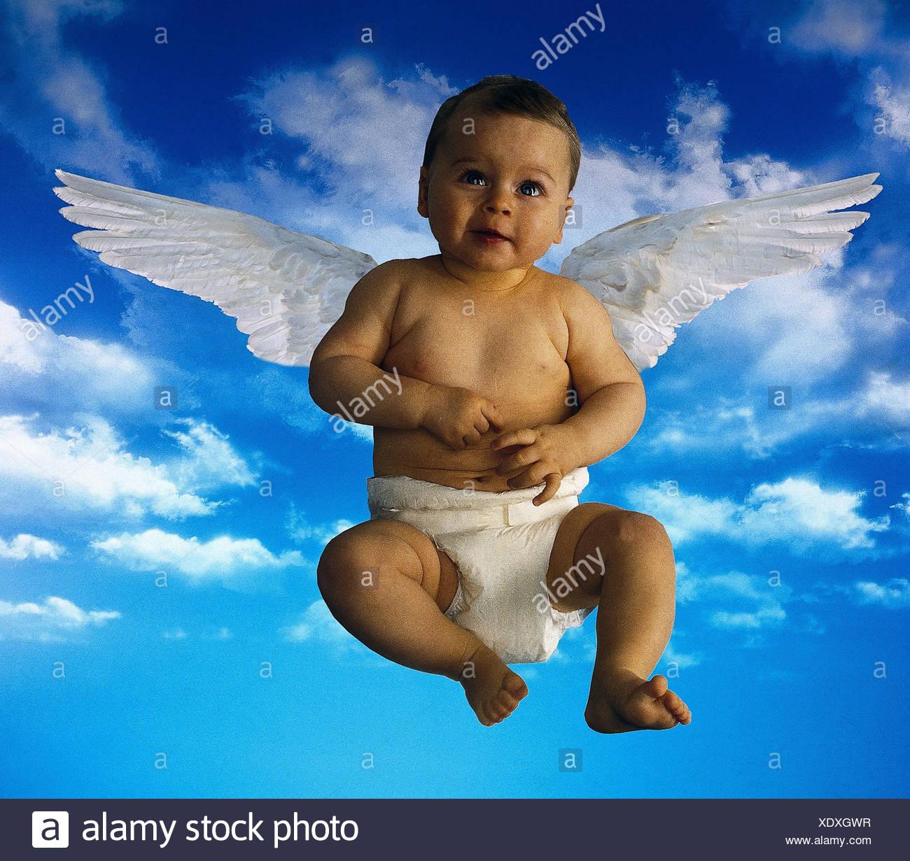 Componer Cielo Nublado Baby Ala Angel Bebé Niño Pequeño El