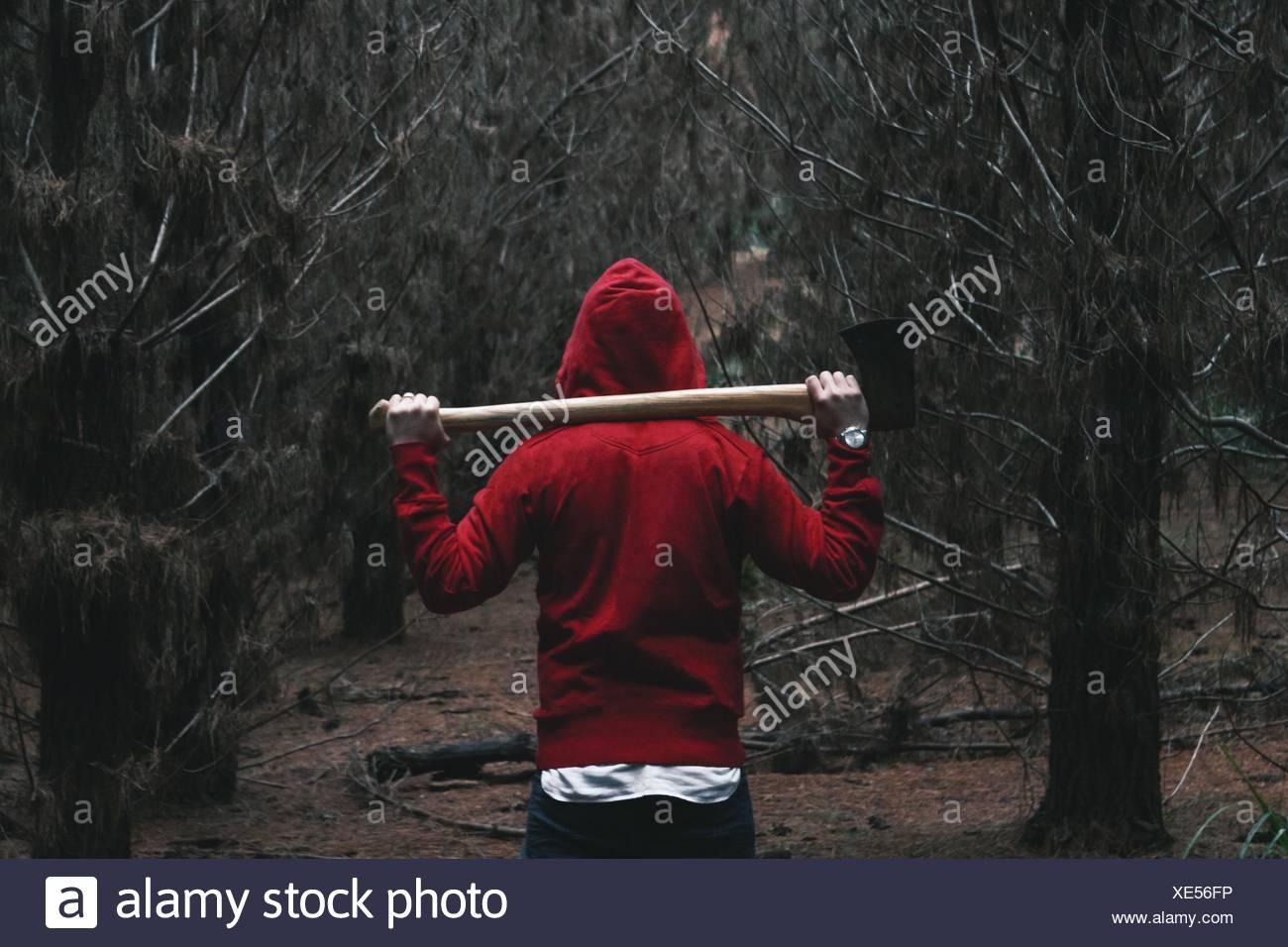 Vista trasera de la persona en Camisa encapuchada caminando en el Bosque Estatal Belanglo Imagen De Stock