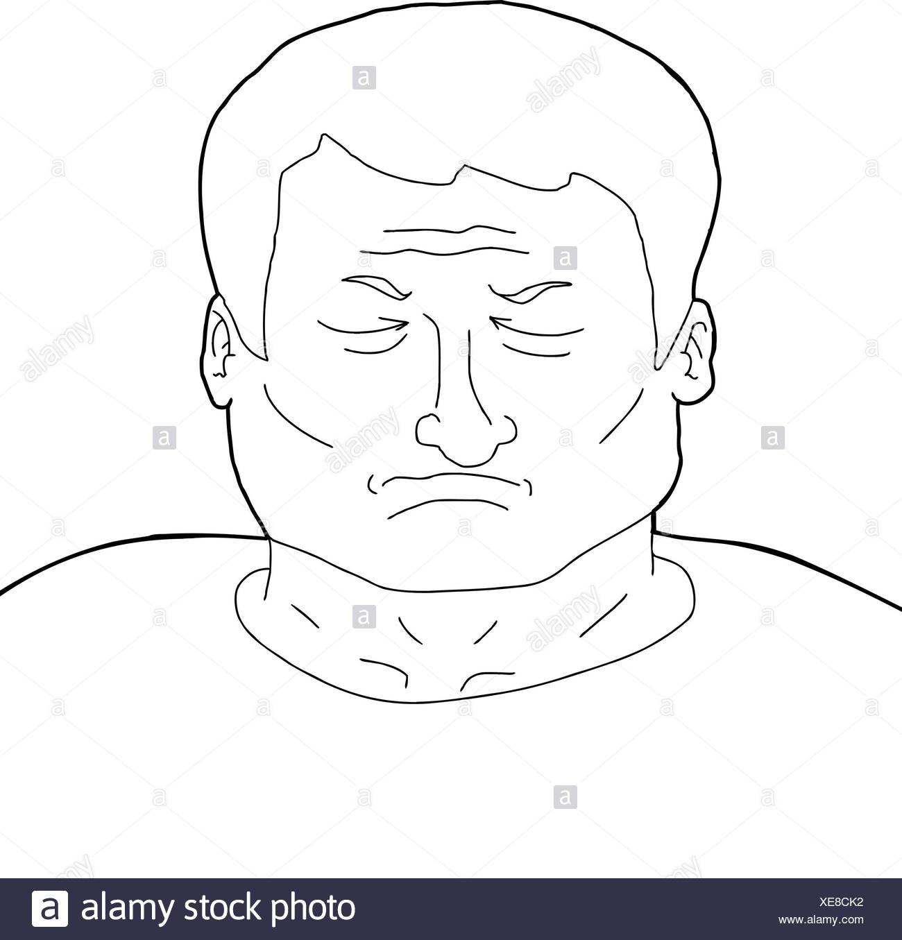Esquema De Dibujos Animados De Un Hombre Adulto Con Los Ojos