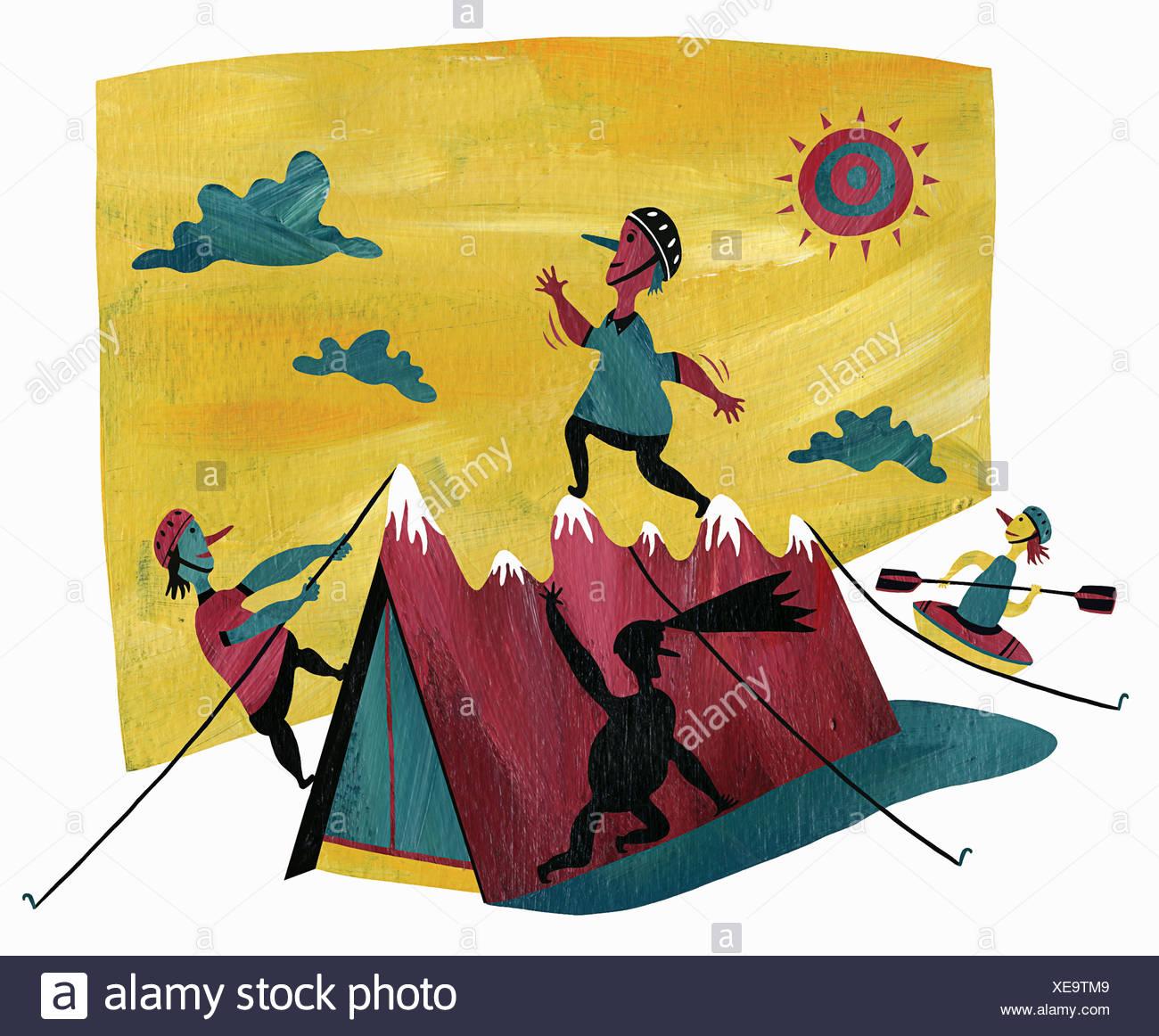 Gente disfrutar de diversas actividades al aire libre Imagen De Stock