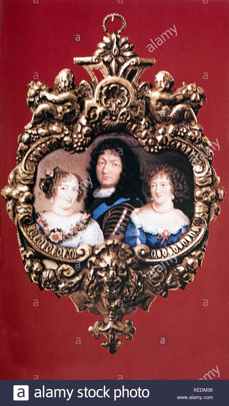 Luis XIV, 5.9.1638 - 1.9.1715, Rey de Francia 1643 - 1715, retrato, con sus amantes Louise de la Valliere y Francoise Marquise de Montespan, miniatura, Foto de stock