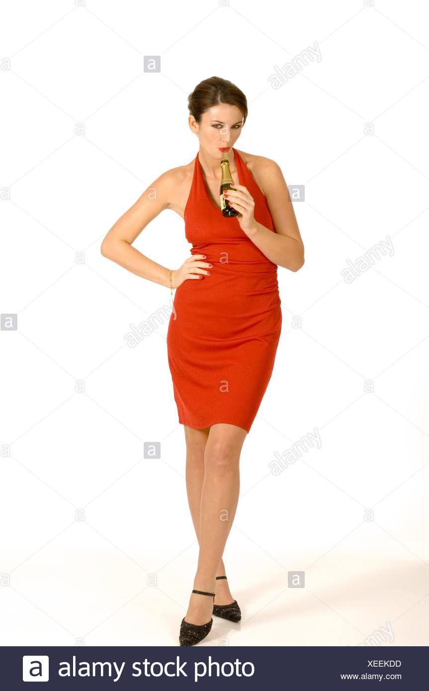 Vestido Corto Morena Pelo Negro Rojo Vistiendo Atado Hembra hrxQtsCd