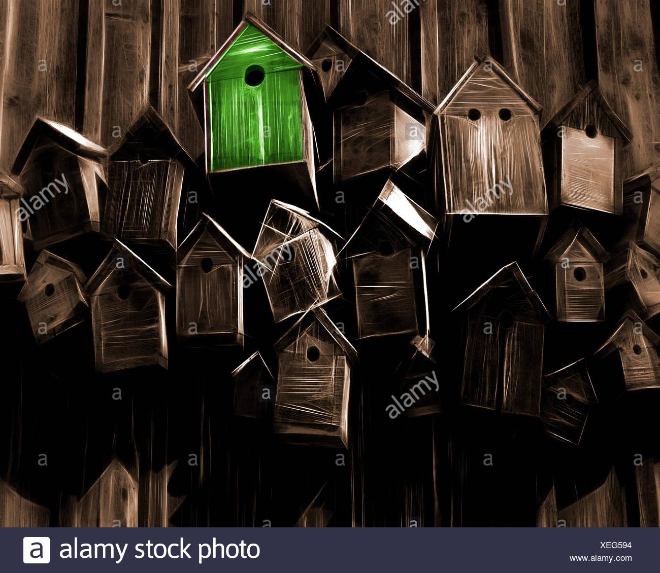 Concepto energético: la casa con uso eficiente de energía Imagen De Stock