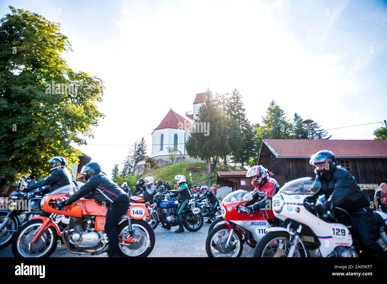 Auerberg Klassik - Auerbergrennen moto classique, la race, l'Allgäu, Allemagne Banque D'Images