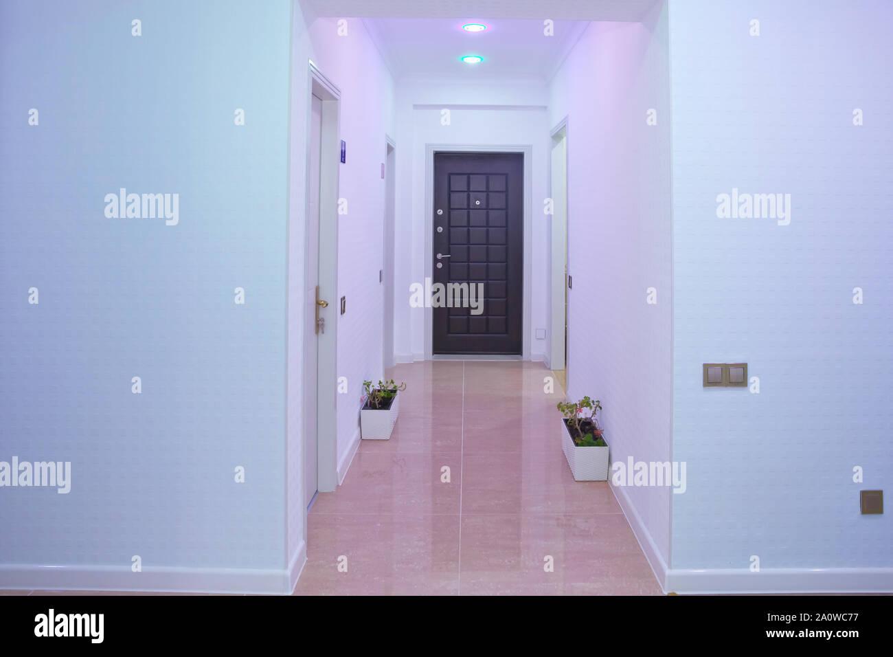 Espace Entre Porte Et Carrelage murs blancs et porte dans couloir avec plancher en bois