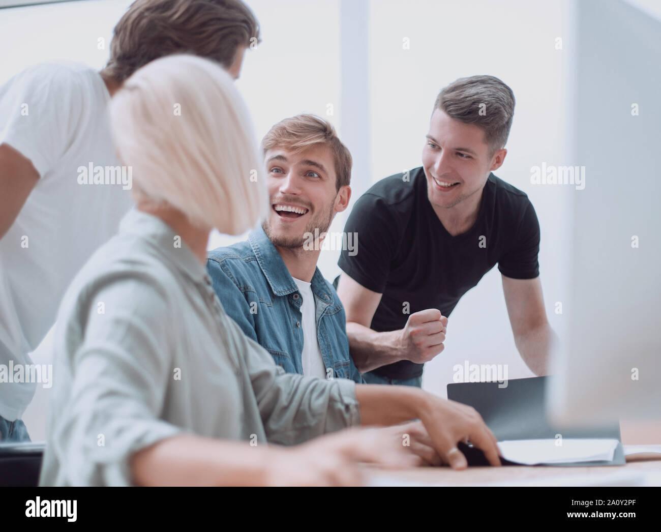 Close up. Creative Business team discussion de nouvelles idées. Banque D'Images