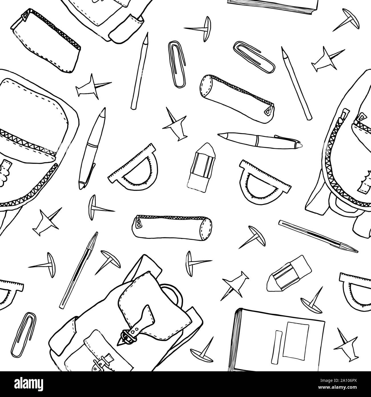 Hand drawn seamless pattern de papeterie scolaire. Vector illustration avec contours d'articles de papeterie pour le papier d'emballage, de fonds d'écran, etc. Illustration de Vecteur